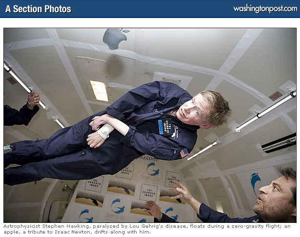 Stephen Hawking and Apple in Zero G